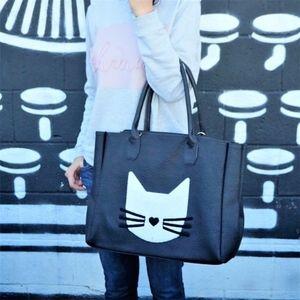 Cat Tote Large Bag in Black